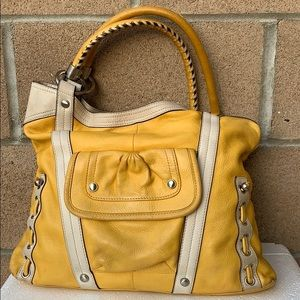 B makowsky yellow white large leather hobo handbag